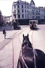 111229: Douglas Horse Tramway Victoria Quay IOM Southbound Car viewed over Horse of Northbound Car