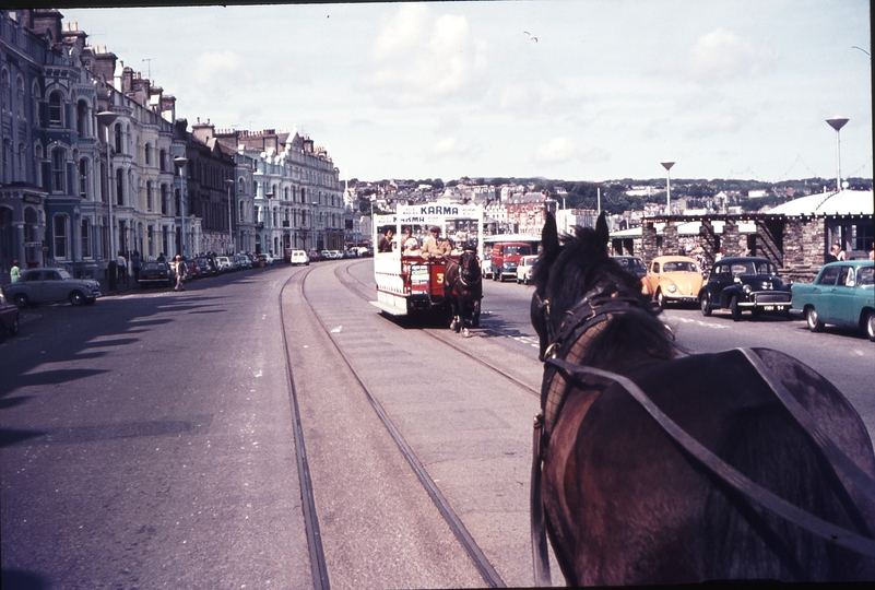111230: En route Douglas Horse Tramway IOM Southbound Car viewed over Horse of Northbound Car