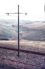 111283: Snaefell Mountain Railway Snaefell Summit IOM Looking across tracks at Summit to line on opposite side of valley
