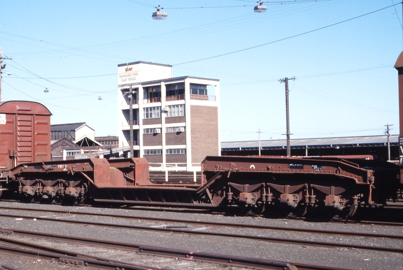 117275: Melbourne Yard East Tower VWCF 1-S Well Wagon with former S Class Tender Bogies
