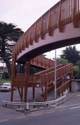 400815: Plimmerton North Island NZ Glued laminated timber footbridge over State Highway No 1