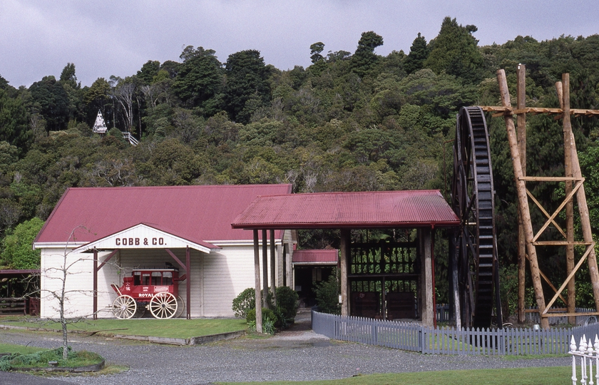 400885: Shantytown South Island NZ Water wheel and stamp mill