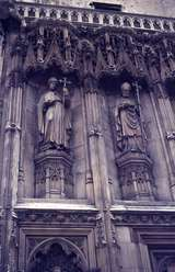 401336: Canterbury Kent England Statues of Archbishops on wall of Canterbury Cathedral